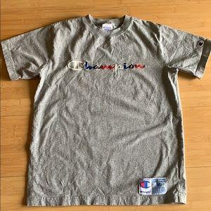 grey champion shot sleeve tee shirt